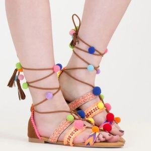 Bamboo Colorful Pom Pom Lace Up Sandals